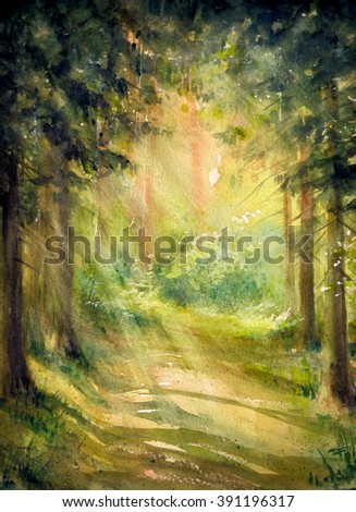 Sunny summer forest.Picture created with watercolors.