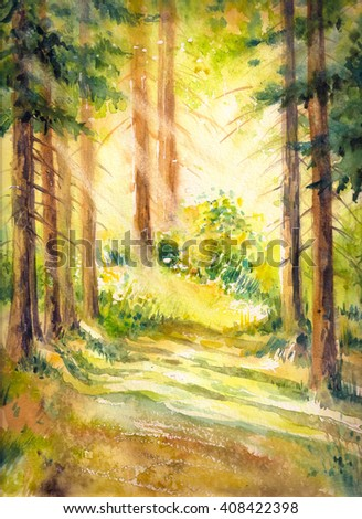 Sunny summer forest.Picture created with watercolors. - stock photo