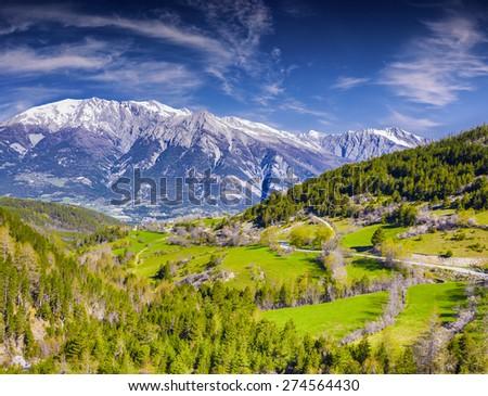 Sunny summer morning in the Italian Alps. - stock photo
