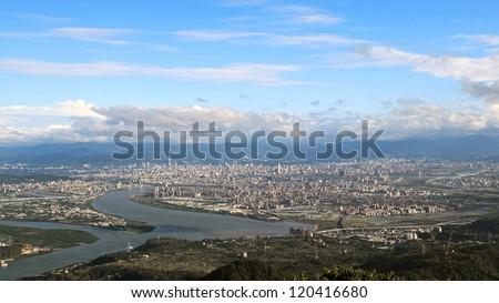 Sunny Taipei city skyline - stock photo