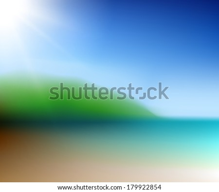 Sunny tropical beach  - raster version - stock photo