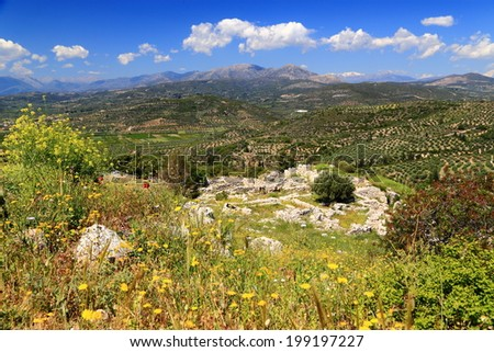 Sunny valley and hills surrounding the ruins of Mycenae, one of the major centers of Greek civilization, Peloponnese, Greece