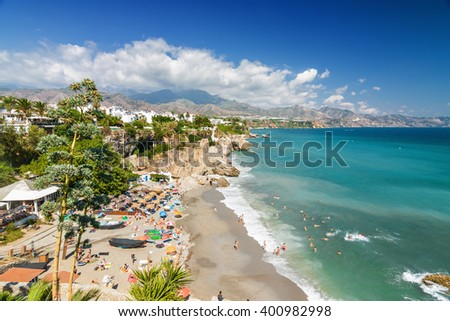 Sunny view of Mediterranean sea from viewpoint of Europe's balcony in Nerja, Andalusia province, Spain. - stock photo