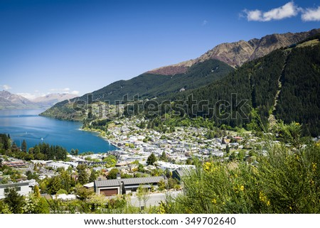 Sunny view of Queenstown on New Zealand's South Island