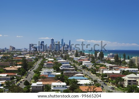Sunny view of Surfers Paradise, Broadbeach, Mermaid Beach and Nobby Beach on the Gold Coast, Queensland, Australia. - stock photo