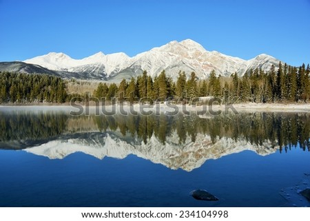 Sunny view of the reflection of  Pyramid Mountain in Patricia Lake in Jasper National Park, Alberta, Canada