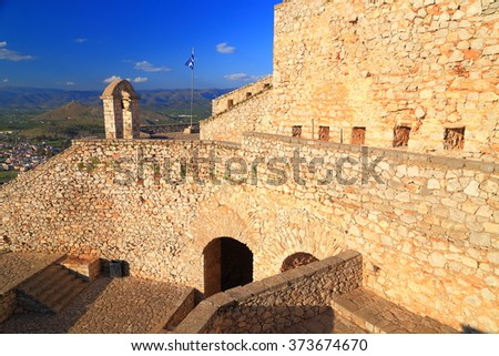 Sunny walls of the Palamidi fortress at evening, Nafplio, Greece