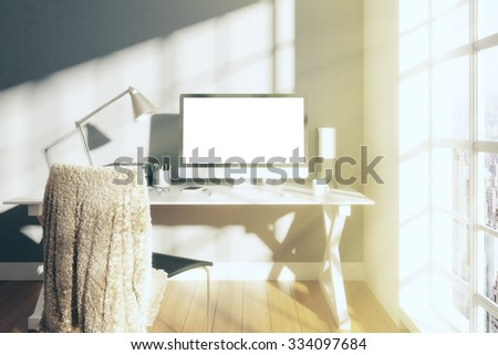 Sunny white room with blank screen monitor of computer, mock up 3D Render - stock photo