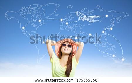 sunny woman backpacker thinking her travel worldwide plan - stock photo