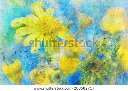 Sunny yellow daisy and messy watercolor splatter
