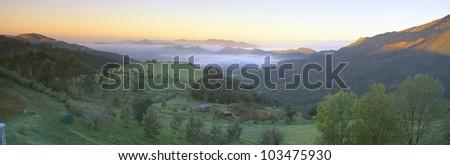 Sunrise across San Fernando Valley, California - stock photo