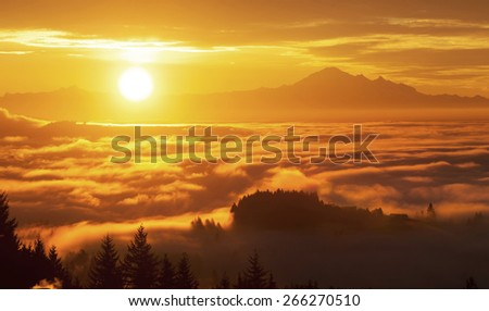 sunrise and Mt. Baker,  view from west Vancouver BC