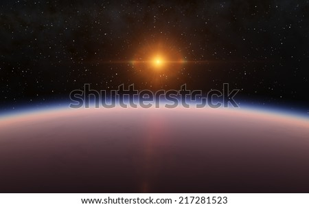 Sunrise and planet