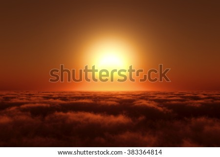 Sunrise and sea of clouds