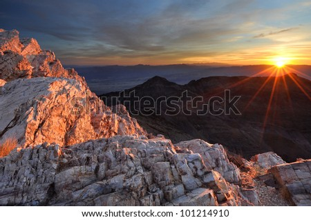Sunrise at aguerreberry Point Death Valley National Park, California - stock photo