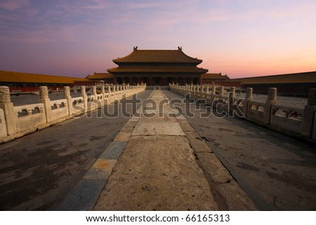 Sunrise at an empty and serene Palace of Heavenly Purity in the beautifully preserved Forbidden City in Beijing, China. - stock photo