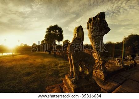 Sunrise at Angkor Wat, Cambodia - stock photo