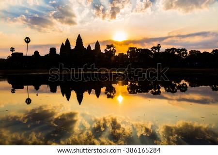 Sunrise at Angkor Wat in Cambodia - stock photo