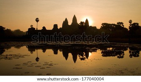 Sunrise at Angkor Wat in Siem Reap, Cambodia. One of the great ancient temples in the world - stock photo