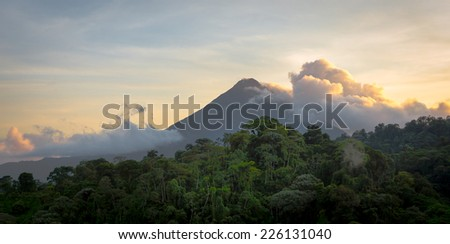 Sunrise at Arenal Volcano - stock photo