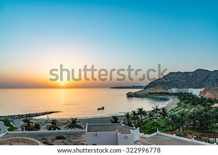 Sunrise at Barr Al Jissah in east of Muscat, Oman. - stock photo