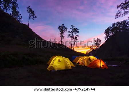 sunrise at base camp and yellow tent