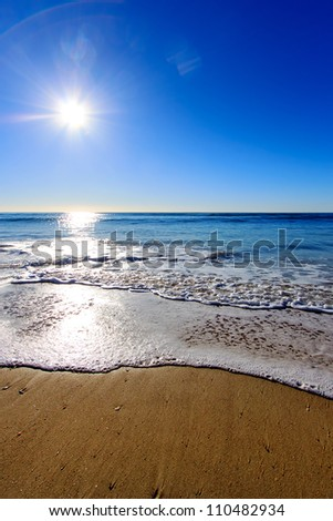 Sunrise at beach, Gold Coast Australia - stock photo