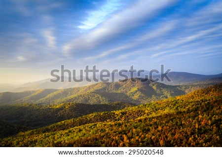 Sunrise at Blue Ridge Mountains - stock photo