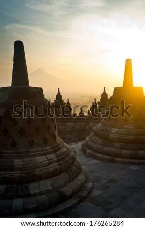 Sunrise at Borobudur in Indonesia.  - stock photo