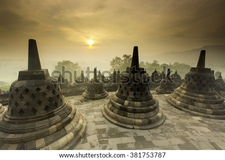 Sunrise at Borobudur Temple, Indonesia
