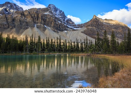Sunrise at Bow Lake in Canadian Rockies - stock photo