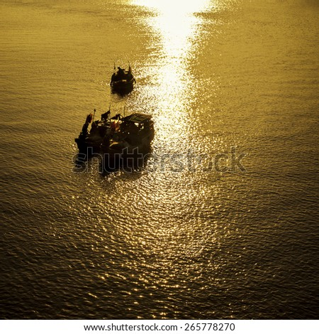 Sunrise at Can Gio, Ho Chi Minh City ( Saigon ), Vietnam - stock photo