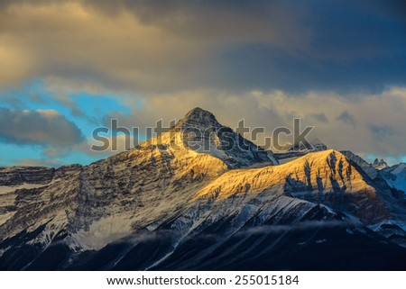 Sunrise at Canadian Rockies Mountains, Alberta, Canada - stock photo