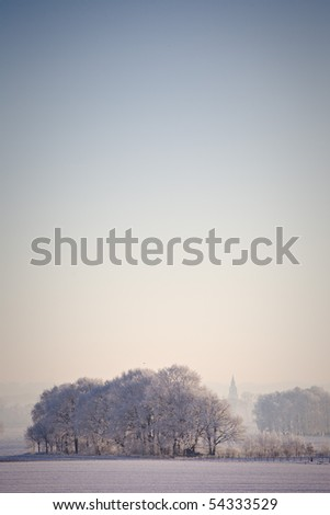 Sunrise at -15 Celcius - Netherlands - stock photo