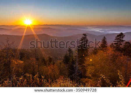 Sunrise at Clingmans Dome in Great Smoky Mountains National Park - stock photo