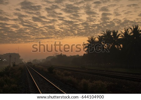 Sunrise at countryside railway