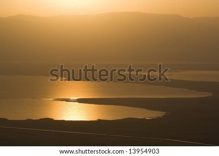 Sunrise at Dead Sea, view from Masada