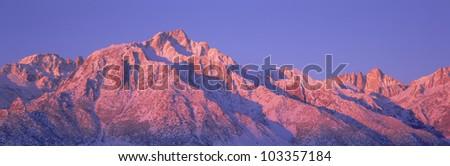 Sunrise at 14,494 feet, Mount Whitney near Lone Pine, California - stock photo