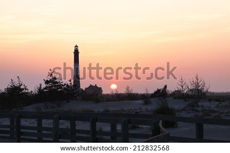 Sunrise at Fire Island. Fire Island lighthouse,dunes and boardwalk. Long Island New Youk.
