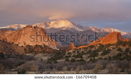 Sunrise at Garden of the Gods Rock Formation in Colorado. - stock photo
