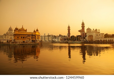 Sunrise at Golden Temple in Amritsar, Punjab, India. - stock photo