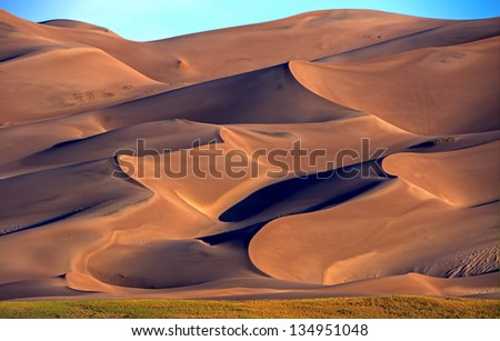Sunrise at Great Sand Dunes National Park and Preserve located in San Luis Valley near Alamosa,Colorado. - stock photo