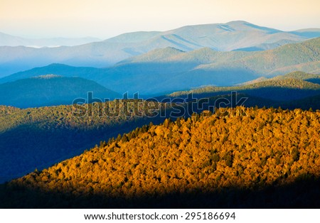 Sunrise at Great Smoky Mountains - stock photo