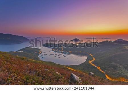 Sunrise at gulf in Hong Kong - stock photo