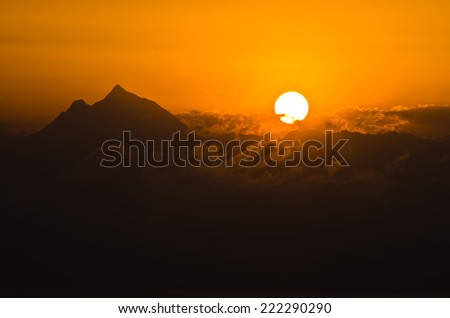 Sunrise at holy mountain Athos in Chalkidiki, Greece - stock photo