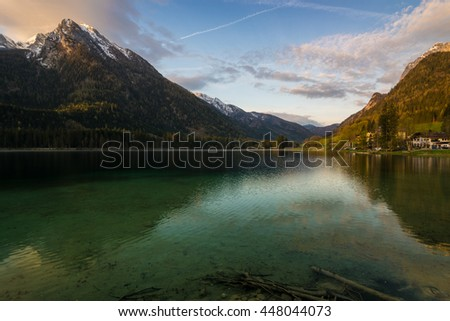 sunrise at lake Hintersee in the Alps of Bavaria, Berchtesgadener Land in Germany