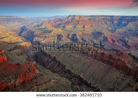 Sunrise at Lipan Point, Desert View Drive, Grand Canyon National Park, Arizona, USA (selective focus) - stock photo