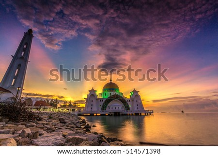 Sunrise at Magnificent Strait Mosque of Malacca, Malaysia