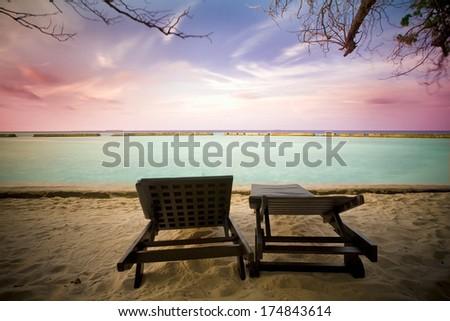 sunrise at maldives - stock photo