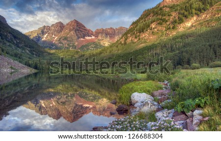 Sunrise at Maroon Bells State Park near Aspen, Colorado - stock photo